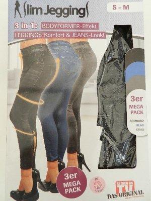Slim Jeggins 3 Stück Leggings Gr. S-M schwarz/Blau/grau-Original aus TV Werbung