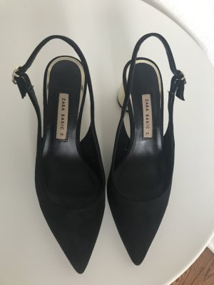 Zara Slingback Pumps black-gold-colored