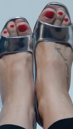Sling-Pumps in metallic silber