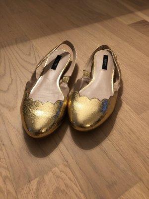 Zara Basic Ballerine à bride arrière doré