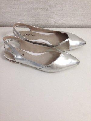 Slingback Ballerinas in Silber mit Mesh von Heine, Gr. 39