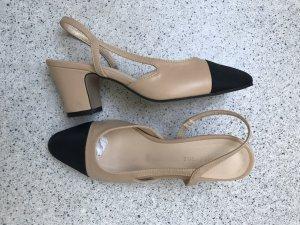 Slingback Pumps Chanel Stil, schwarz/ beige Gr. 37,5