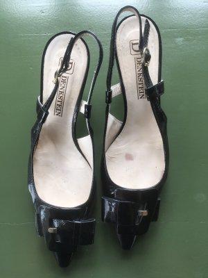 Slingback pumps zwart Leer