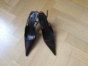 Zara Escarpins noir-brun foncé cuir