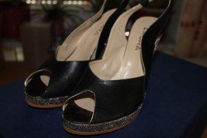 Slingpumps / Sandaletten / Peeptoes mit Keilabsatz; Größe 39