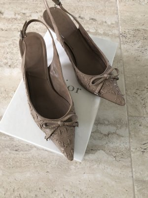 Dior Escarpin à bride arrière gris brun cuir
