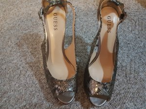 Guess Slingback Pumps black-silver-colored reptile leather