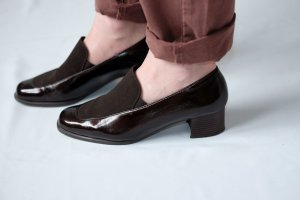 slip on pumps blockabsatz matt lack nussbraun 38