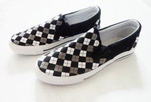 Slip On Sneaker kariert schwarz weiß kariert Halbschuhe 38