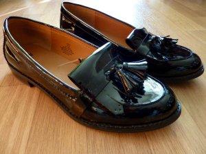 Slipper Flache Schuhe Loafers schwarz 40