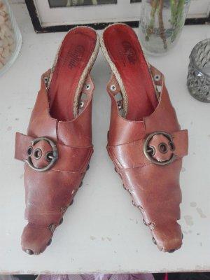 Buffalo Slippers cognac-coloured