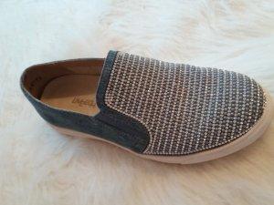 slipper jeansblau glitzer 38