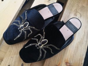 Slipper Loafer Zara Gucci-Style Spinne Insekt Schwarz Samt 39