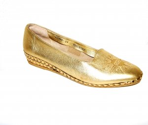 Bally Patent Leather Ballerinas gold-colored leather