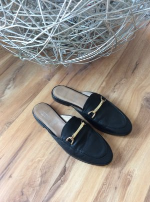 Slipper Schuhe 5th Avenue Leder schwarz Gold