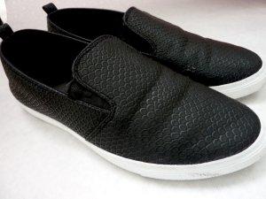 Slipper Sneaker Leder Halbschuhe schwarz 40