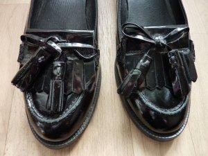 Slipper Topshop Lackleder Flats Quastenschuhe Flache Schuhe Loafer schwarz 39 40