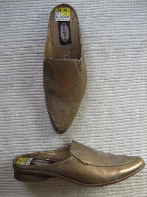 slippers schuhe graceland deichmann gold neuwerig gr. 38 blogger