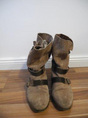 Slouch Boots Stiefel Stiefeletten Veloursleder Übergang taupe greige beigegrau kitt stein weiches Leder Echtleder