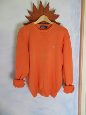 Slouchy Apricot Polo by Ralph Lauren Oversize Crew Neck Grobstrick Sweater - M L - 100% Cotton Hoodie
