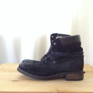 Slouchy schwarze Wildleder Buffalo Schnür-Boots Gr. 36