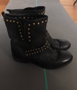 Vintage Slouch Booties black-gold-colored