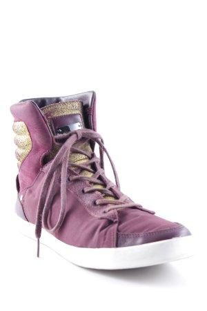 SLVR High Top Sneaker goldfarben-brombeerrot sportlicher Stil