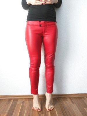 Sly 010 Pantalone in pelle rosso-rosso mattone Pelle