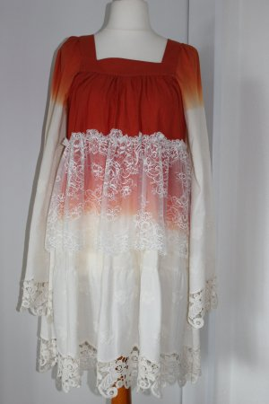 Sly 010 Hippie Dress white-orange cotton