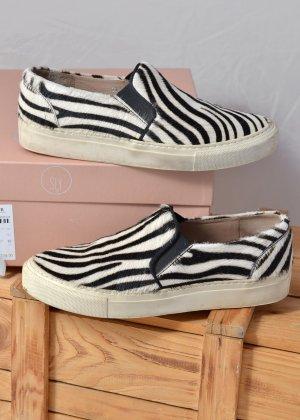 SLY010 Slipper Slip-on Sneakers Fell 37 Zebralook Animal OVP Leder Sly 010