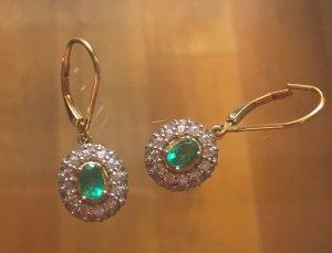 Smaragd Ohrhänger silber vergoldet neu