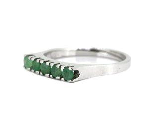 Smaragd Vintage Silberring 835 Silber mit 5 x Smaragd Edelstein grün Besatz