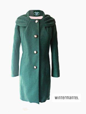 Smaragdgrüner Smaragd Grün Mantel Winter Jacke mit Kragen wolle | 40-42