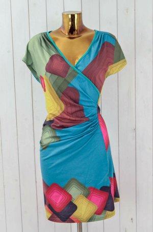 SMASH Damen Kleid Jerseykleid Jersey Bunt Stretch Gewickelt Kurzarm Gr.S
