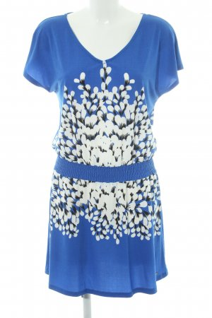 Smash Jersey Dress steel blue-white abstract print beach look