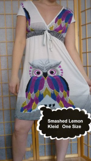 Smashed Lemon Kleid, Eulen, Empire-Taille, Kurzarm *neu* One Size