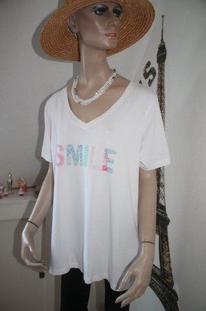 SMILE * Shirt mit V-Ausschnitt * Bio - Baumwolle *  Oversize * Gr. 44 * kaum getragen *