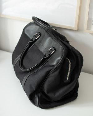 Borsa da weekend nero-argento Pelle