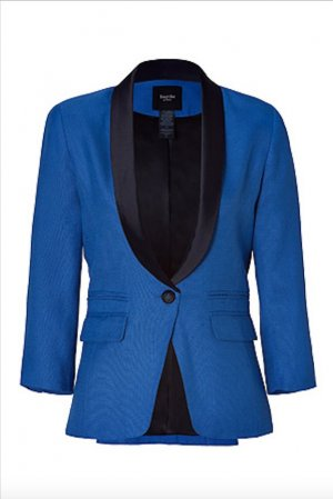 SMYTHE Smoking Blazer Jacke Blau Schwarz 38 Jacket Blue Black Cotton M-L TOP
