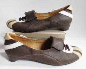 Snaeker Ballerina Venice Größe 40 Braun Beige Weiß Echtes Leder Wildleder Streifen Fußball Schuhe Turnschuhe Laufschuhe Pumps
