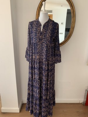 Hippie Dress sand brown-dark blue polyester