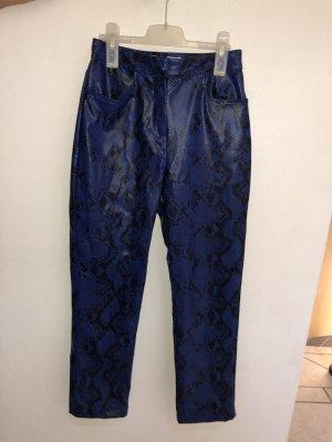 NA-KD Pantalone in pelle nero-blu scuro