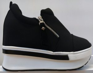 Wedge sneaker wit-zwart