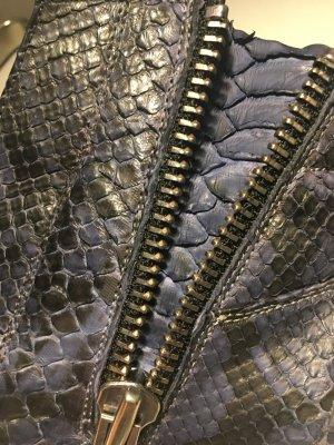 Slip-on Sneakers dark blue reptile leather