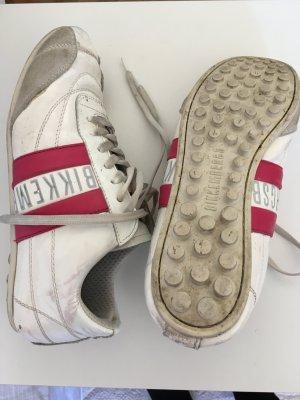 Sneaker Bikkembergs Größe 37 weiß Lack mit pinken Streifen