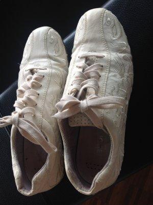 Sneaker Gabor Größe 5 38 Damen beige Cream mit Stickerei Leder