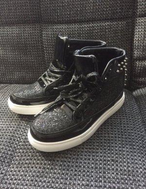 Sneaker high Glitzer schwarz