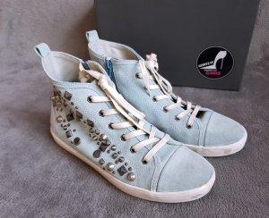 Sneaker high Nieten Hellblau Silber Gr. 41