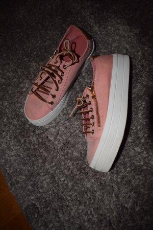 Sneaker in rosa mit Lederschuhbändeln - Gr.38-