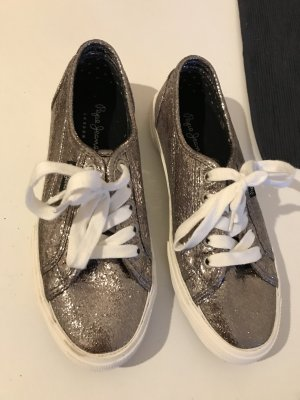 Sneaker, Metallic-Look, anthrazit